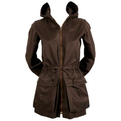 1970's YVES SAINT LAURENT brown cotton jacket with quilted hood and waist tie