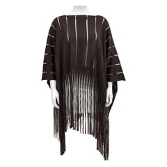 1970s Yves Saint Laurent Brown Knit Poncho