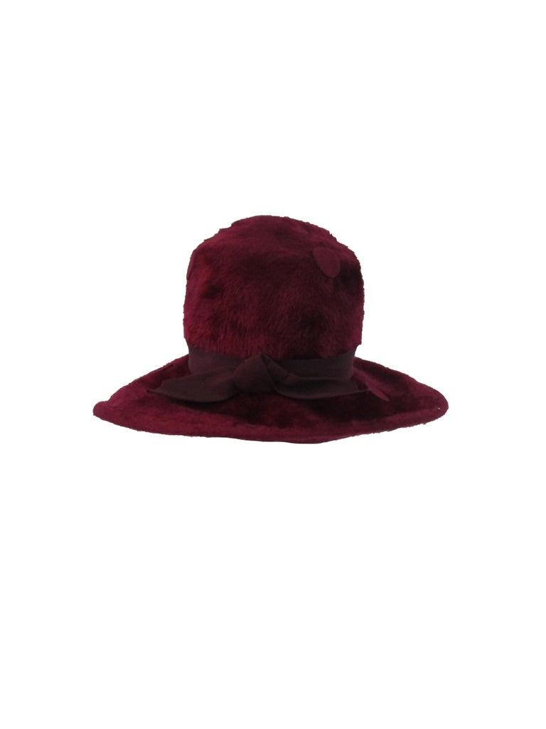 Black 1970s Yves Saint Laurent Burgundy Faux Fur Hat with Grosgrain Band  For Sale