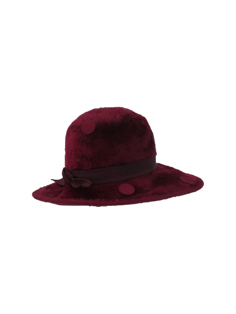 1970s Yves Saint Laurent Burgundy Faux Fur Hat with Grosgrain Band  In Excellent Condition For Sale In Houston, TX