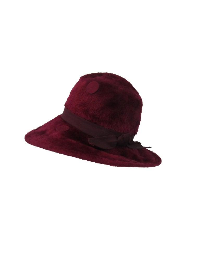 Women's 1970s Yves Saint Laurent Burgundy Faux Fur Hat with Grosgrain Band  For Sale