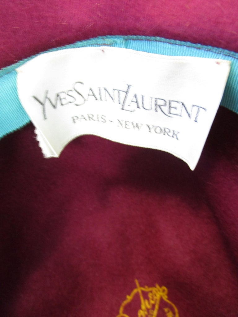 1970s Yves Saint Laurent Burgundy Faux Fur Hat with Grosgrain Band  For Sale 1
