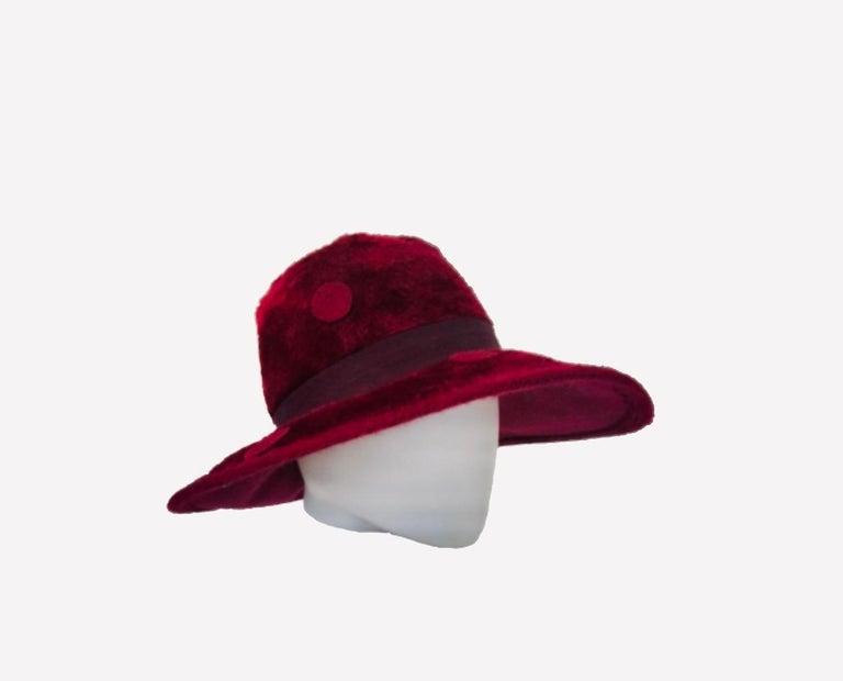 1970s Yves Saint Laurent Burgundy Faux Fur Hat with Grosgrain Band  For Sale 2