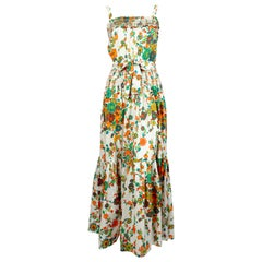 1970's YVES SAINT LAURENT cotton floral dress with embroidery & pleating