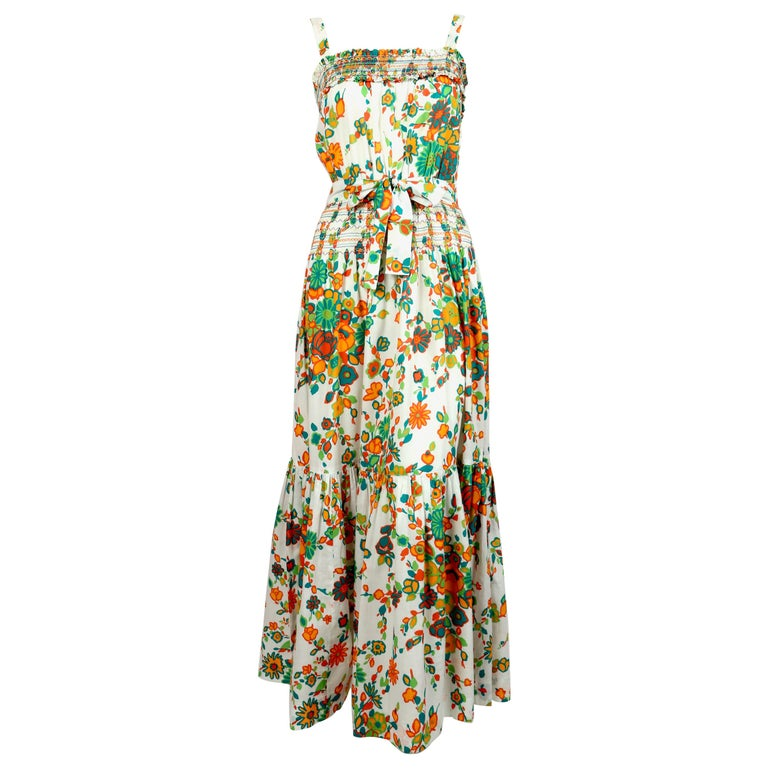 1970's YVES SAINT LAURENT cotton floral dress with embroidery & pleating For Sale