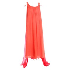 1970s Yves Saint Laurent Couture Orange and Red Silk Chiffon Evening Dress