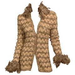 1970's Yves Saint Laurent Crocheted Sweater with Feather Collar and Cuffs