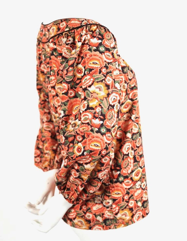Women's or Men's 1970's YVES SAINT LAURENT floral printed cotton peasant shirt For Sale