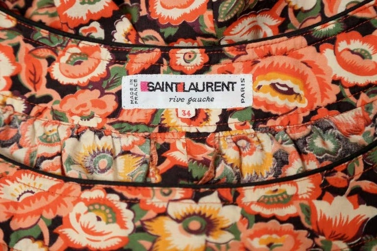 1970's YVES SAINT LAURENT floral printed cotton peasant shirt For Sale 1