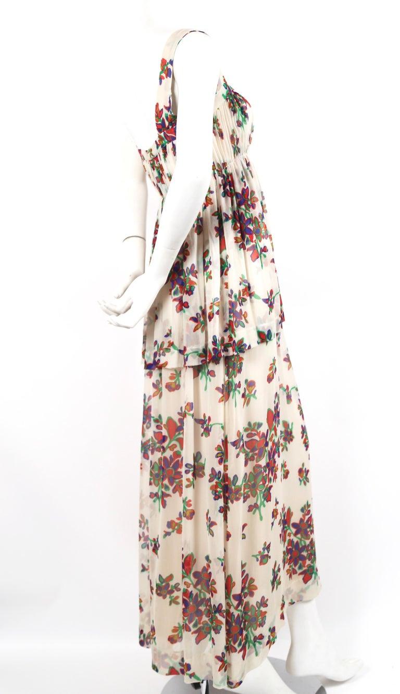 Beige 1970's YVES SAINT LAURENT floral printed silk chiffon maxi dress For Sale