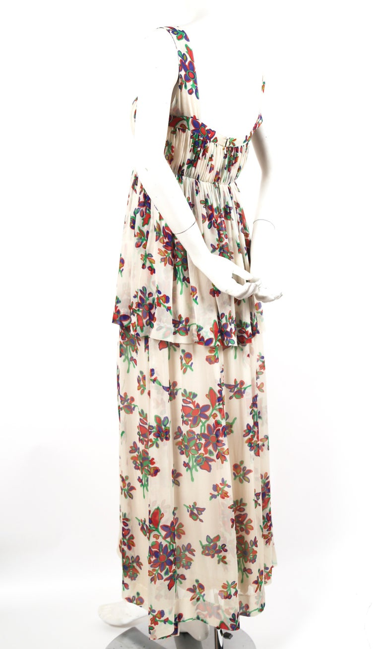 1970's YVES SAINT LAURENT floral printed silk chiffon maxi dress In Good Condition For Sale In San Fransisco, CA