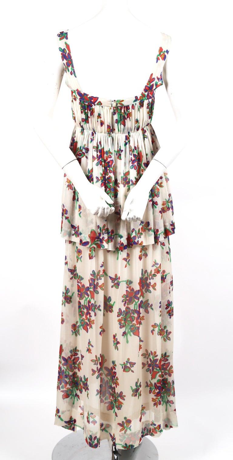 Women's or Men's 1970's YVES SAINT LAURENT floral printed silk chiffon maxi dress For Sale