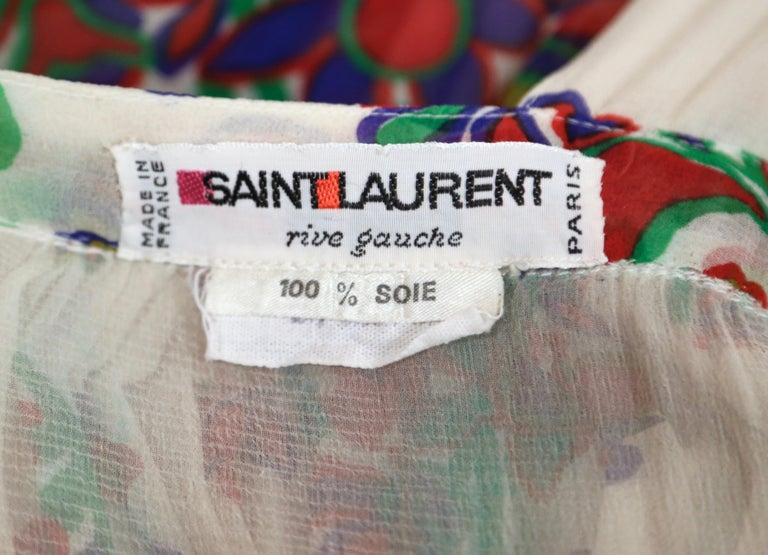 1970's YVES SAINT LAURENT floral printed silk chiffon maxi dress For Sale 1