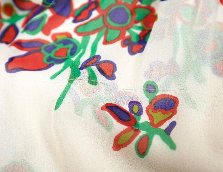 1970's YVES SAINT LAURENT floral printed silk chiffon maxi dress For Sale 2