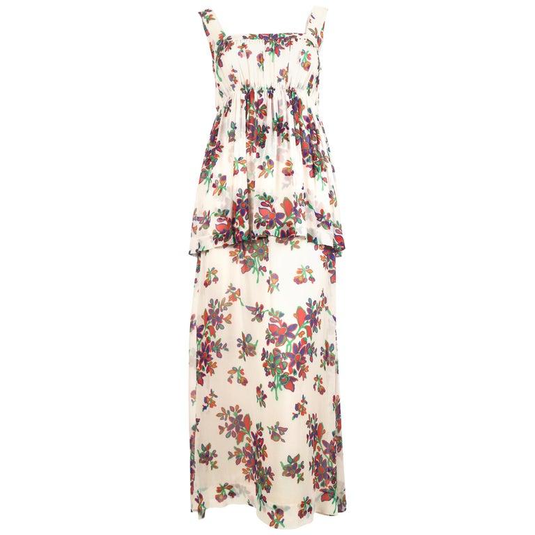 1970's YVES SAINT LAURENT floral printed silk chiffon maxi dress For Sale