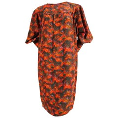 1970's YVES SAINT LAURENT floral silk peasant dress