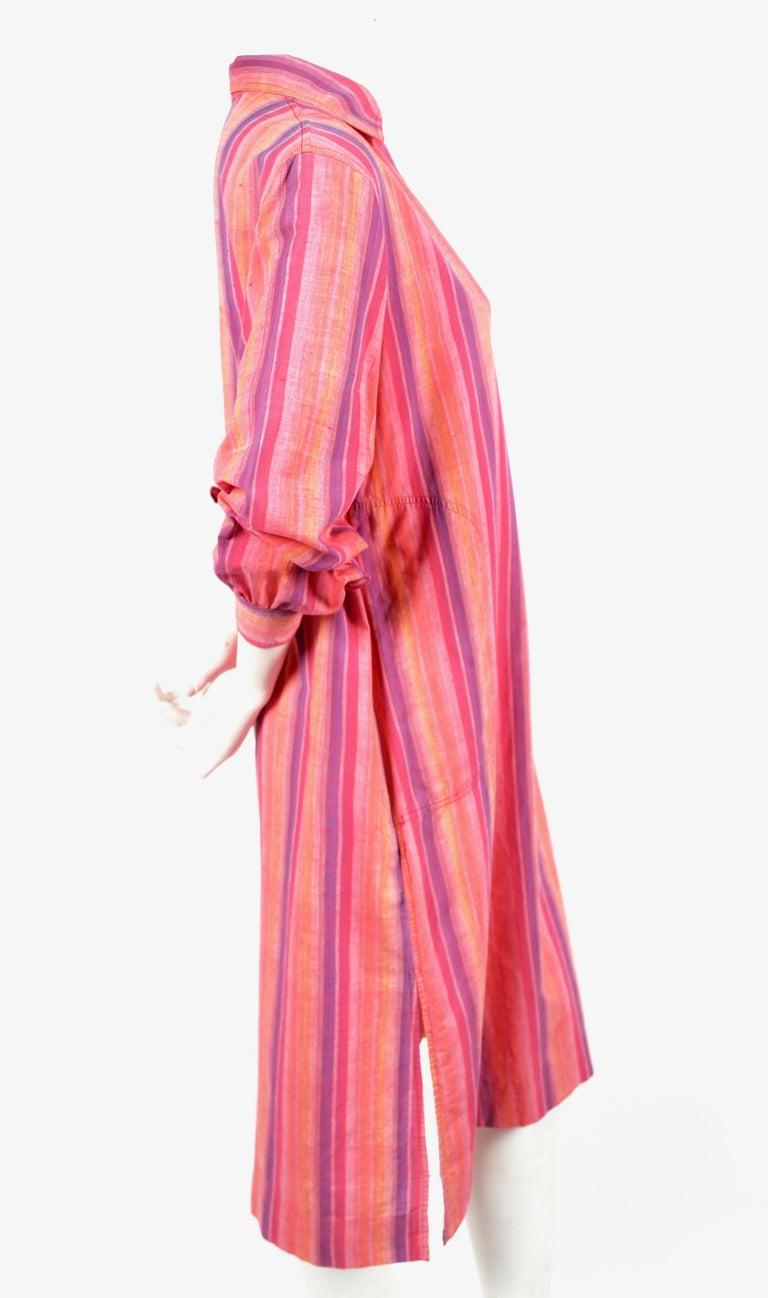 Pink 1970's YVES SAINT LAURENT fuchsia striped cotton dress For Sale