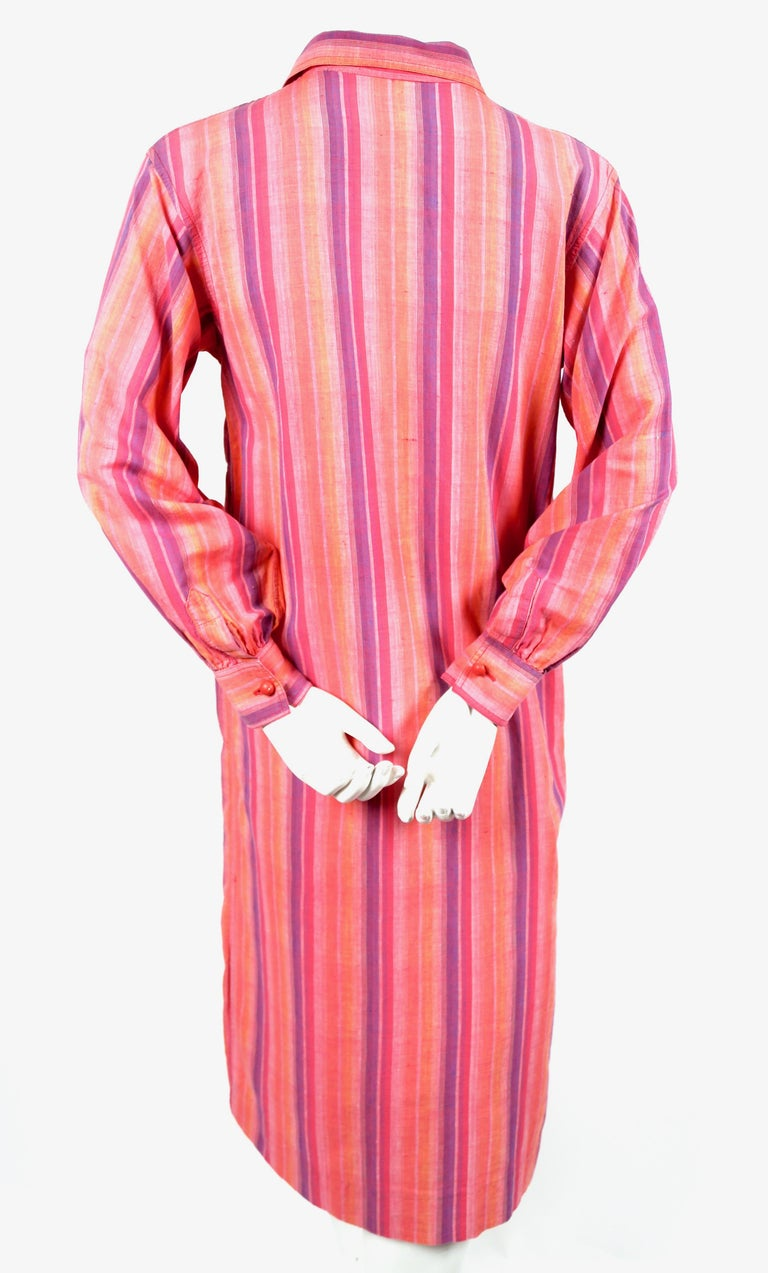 1970's YVES SAINT LAURENT fuchsia striped cotton dress In Good Condition For Sale In San Fransisco, CA