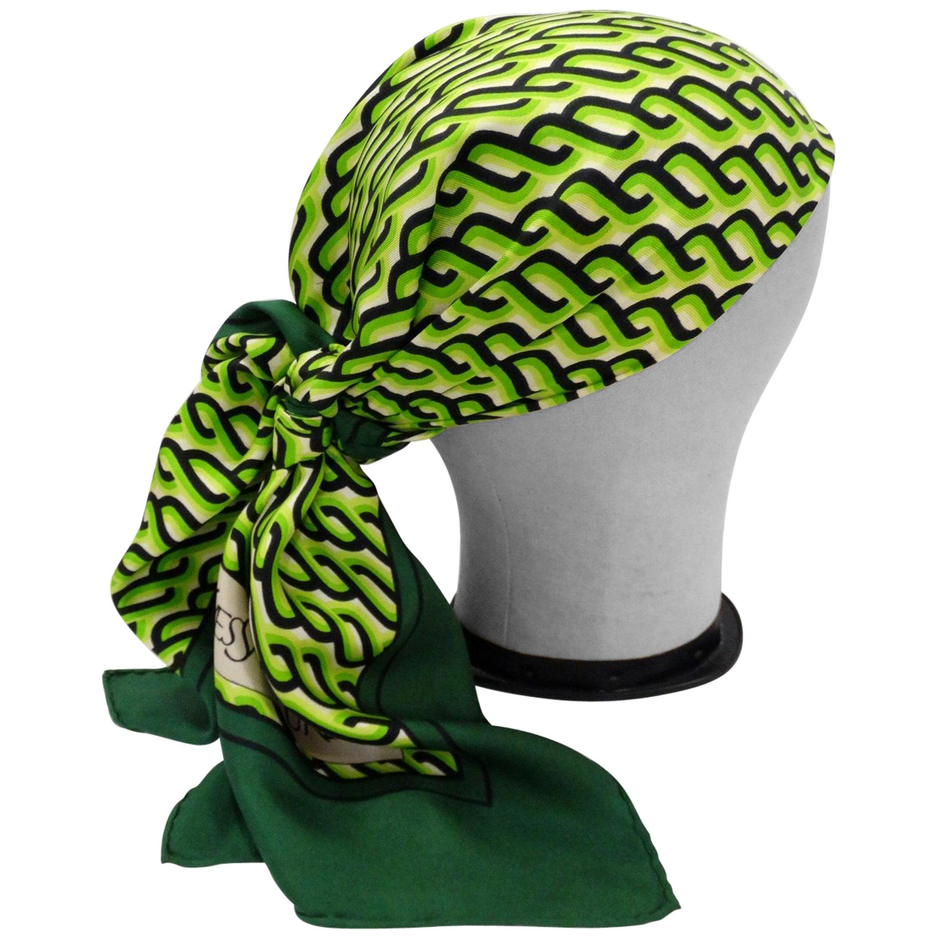 1970s Yves Saint Laurent Green Braid Pattern Scarf