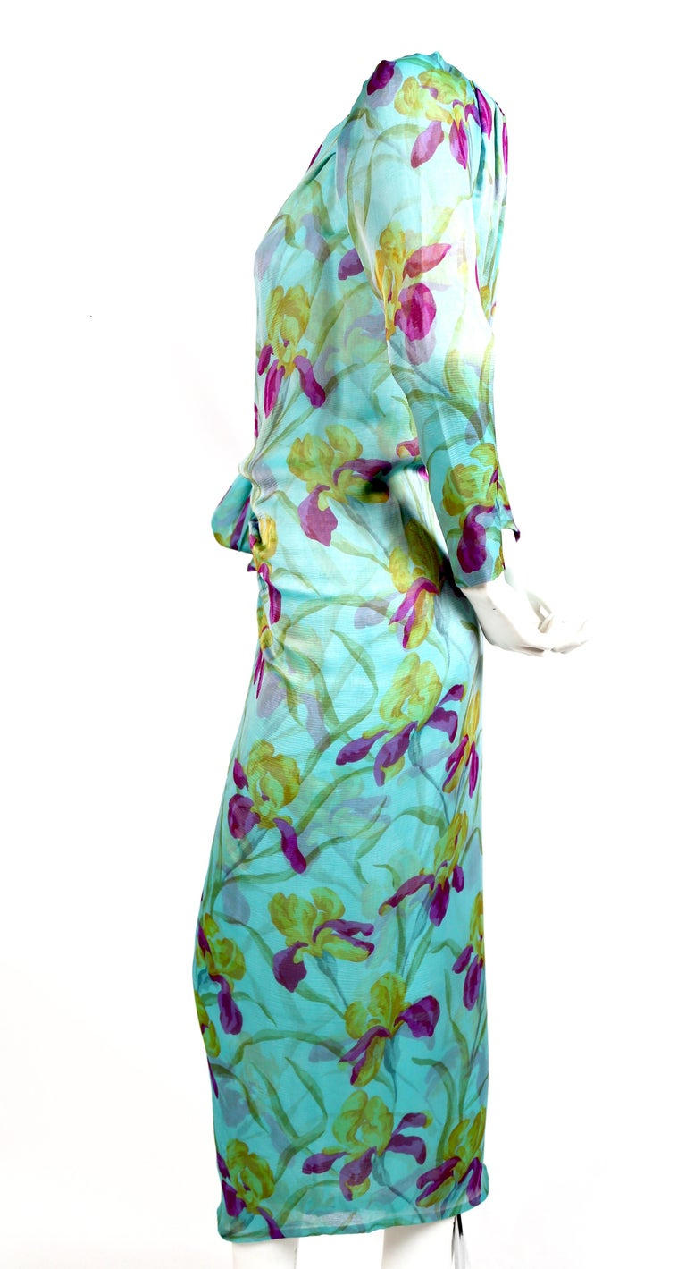 1970'S YVES SAINT LAURENT haute couture floral printed silk mousseline dress In Excellent Condition For Sale In San Fransisco, CA