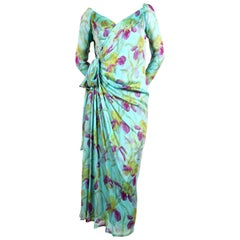 1970'S YVES SAINT LAURENT haute couture floral printed silk mousseline dress