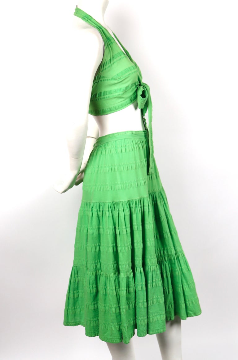 1970's YVES SAINT LAURENT lime green cotton seersucker crop top and tiered skirt In Good Condition For Sale In San Fransisco, CA