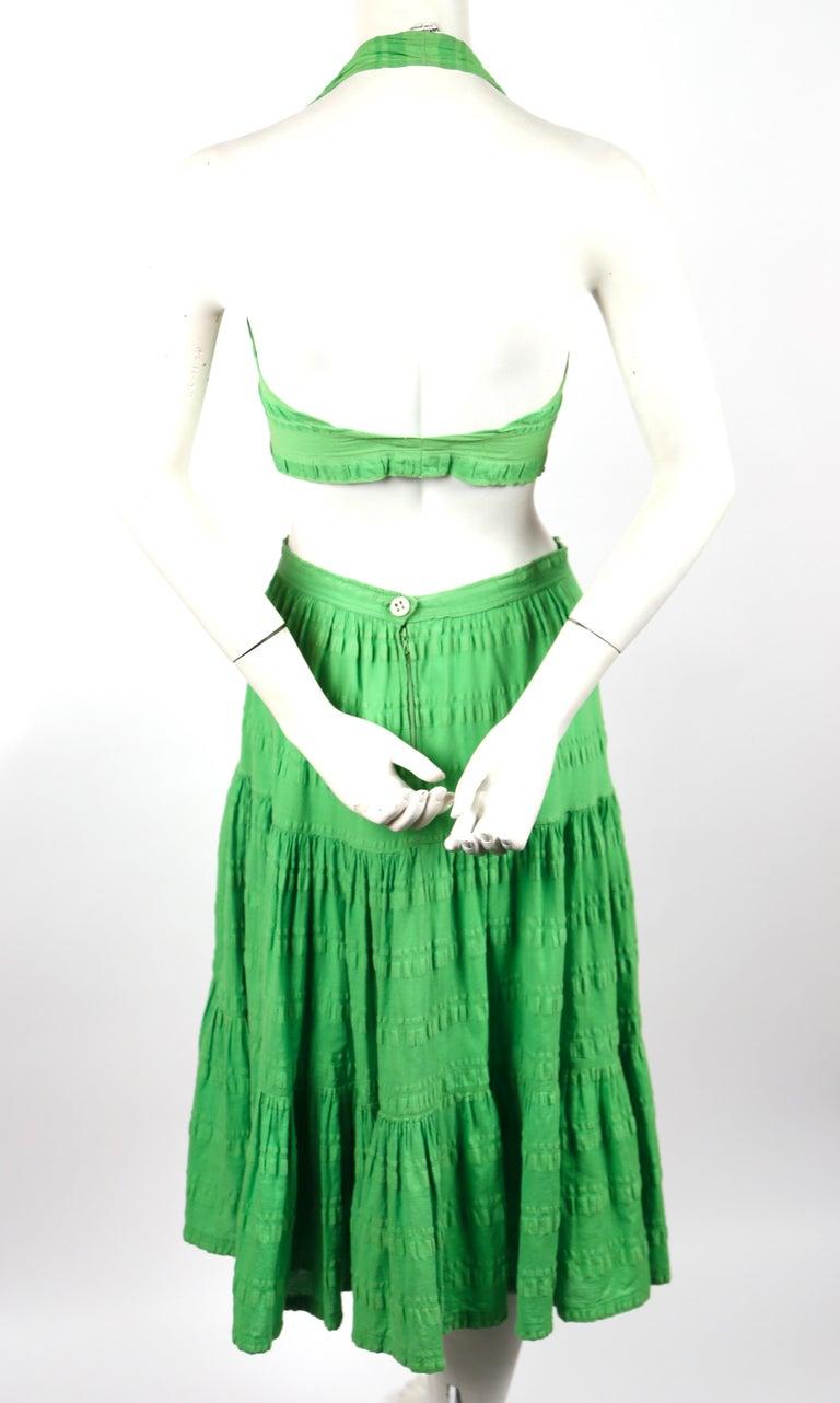 Women's 1970's YVES SAINT LAURENT lime green cotton seersucker crop top and tiered skirt For Sale