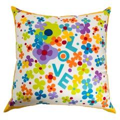 1970s Yves Saint Laurent LOVE Silk Scarf Custom Pillow