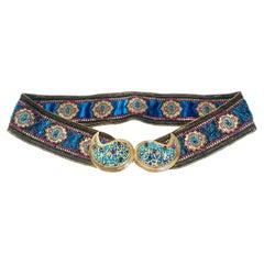 1970s Yves Saint Laurent Moroccan Collection Jewelled Buckle Waist Belt