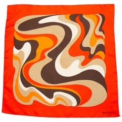 1970s Yves Saint Laurent Orange and Brown Silk Scarf