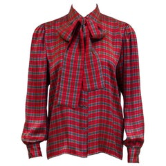 1970s Yves Saint Laurent Red, Blue and Brown Tartan Pussy Bow Blouse
