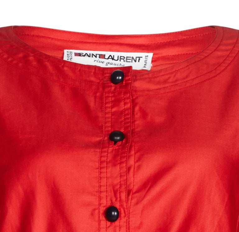 1970s Yves Saint Laurent Red Cotton Bell Sleeve Blouse In Excellent Condition For Sale In London, GB