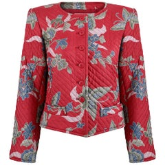 1970s Yves Saint Laurent Red Quilted Jacket With Butterfly Floral Design