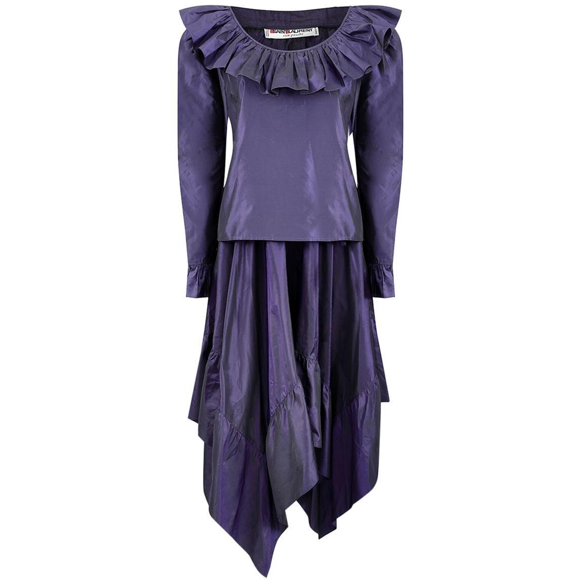 1970s Yves Saint Laurent Rich Purple Taffeta Ruffle Skirt Set