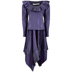 1970s Yves Saint Laurent Rich Purple Taffeta Ruffle Skirt Set