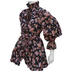 1970's Yves Saint Laurent Rive Gauche Black Floral Taffeta Jacket