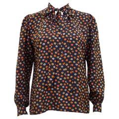 1970s Yves Saint Laurent Rive Gauche Black Silk Shirt with Orange Flowers