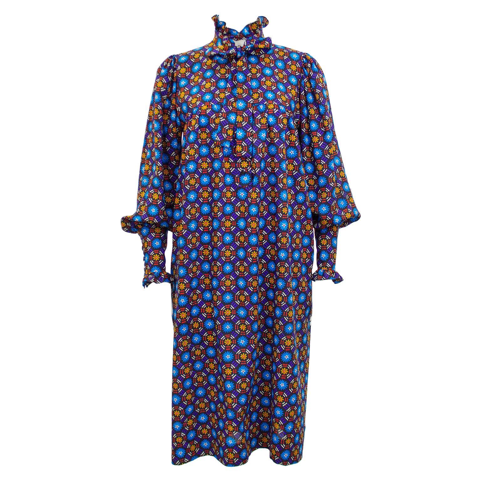 1970s Yves Saint Laurent Rive Gauche Blue Floral Cotton Dress