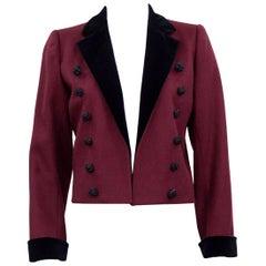 1970s Yves Saint Laurent Rive Gauche Bordeaux Red Wool Tuxedo Jacket
