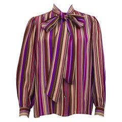 1970s Yves Saint Laurent Rive Gauche Purple Stripe Silk Pussybow Blouse