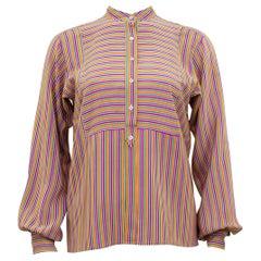 1970s Yves Saint Laurent Rive Gauche Silk Henley Shirt