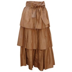 1970's Yves Saint Laurent Rive Gauche Silk Tiered Peasant Skirt