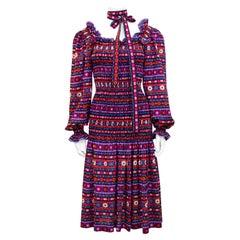 1970s Yves Saint Laurent Rive Gauche Smocked Drop Waist Dress