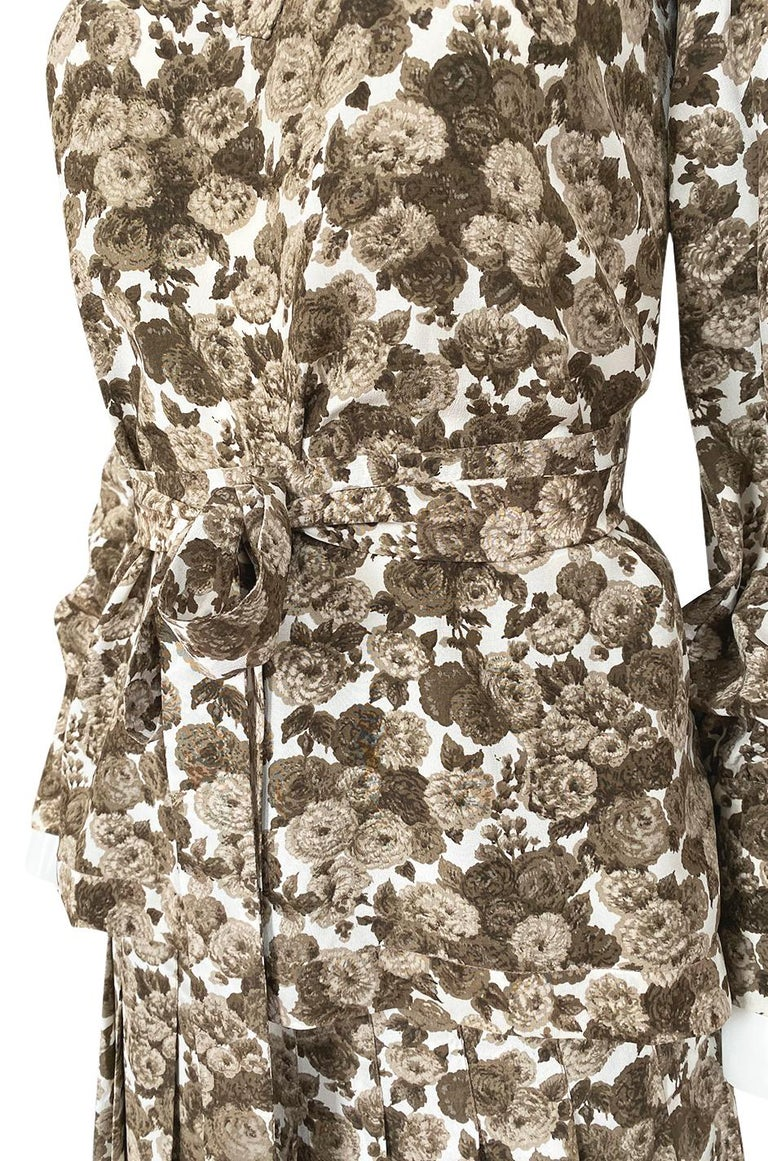 1970s Yves Saint Laurent Soft Brown Floral Print Silk Dress Top & Skirt Set For Sale 7