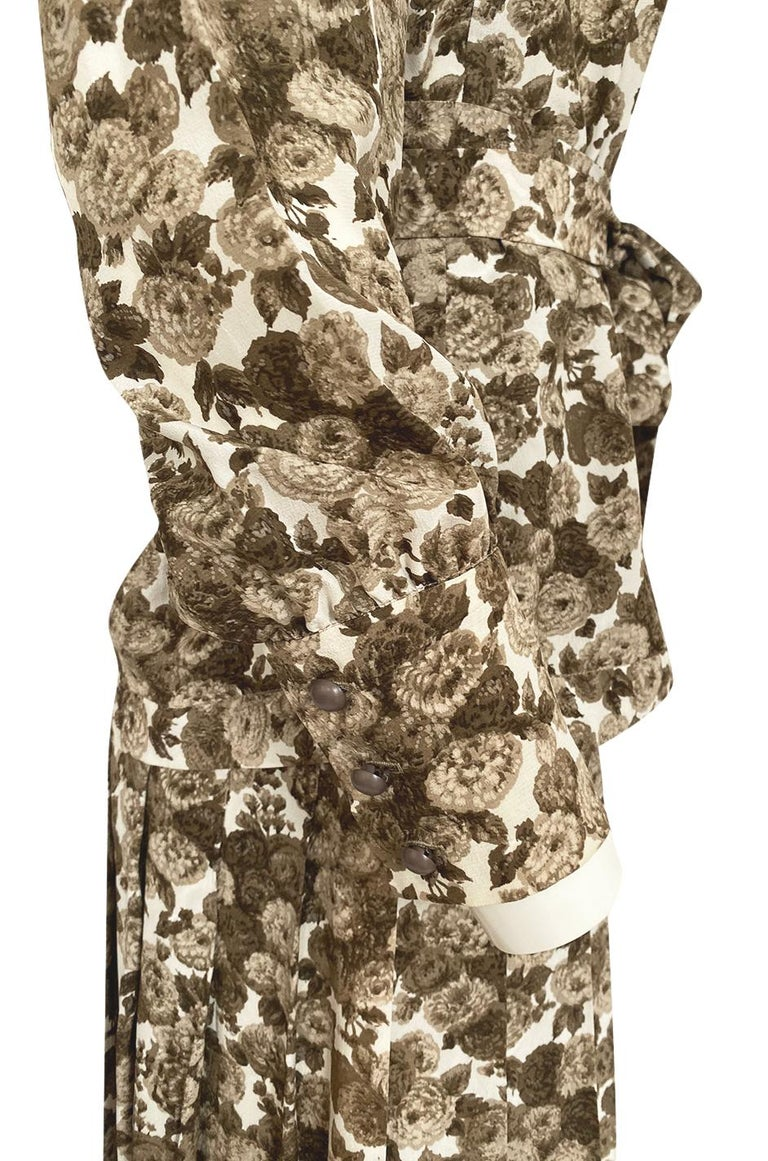 1970s Yves Saint Laurent Soft Brown Floral Print Silk Dress Top & Skirt Set For Sale 8