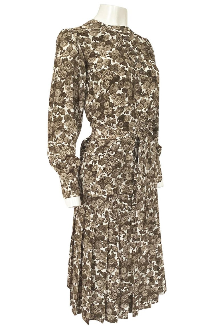 1970s Yves Saint Laurent Soft Brown Floral Print Silk Dress Top & Skirt Set In Excellent Condition For Sale In Rockwood, ON