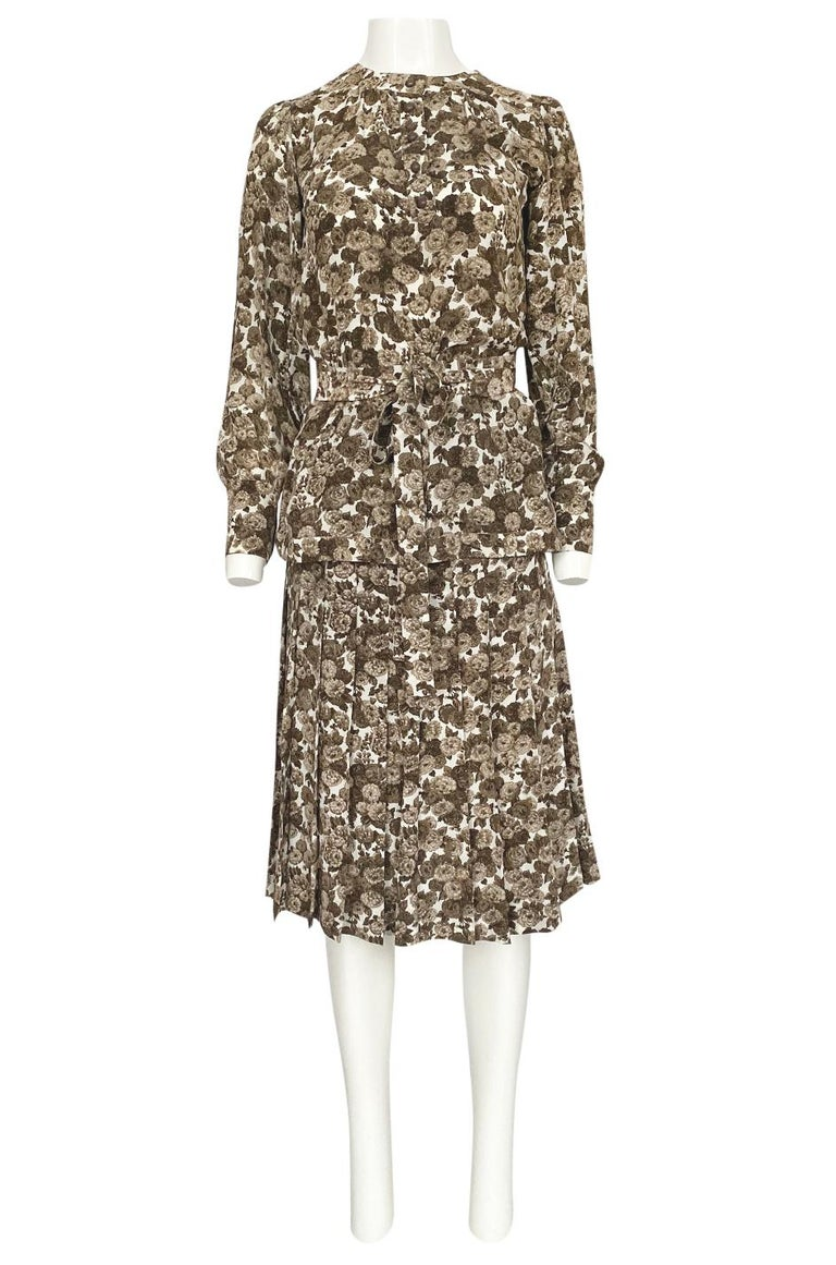 Women's 1970s Yves Saint Laurent Soft Brown Floral Print Silk Dress Top & Skirt Set For Sale