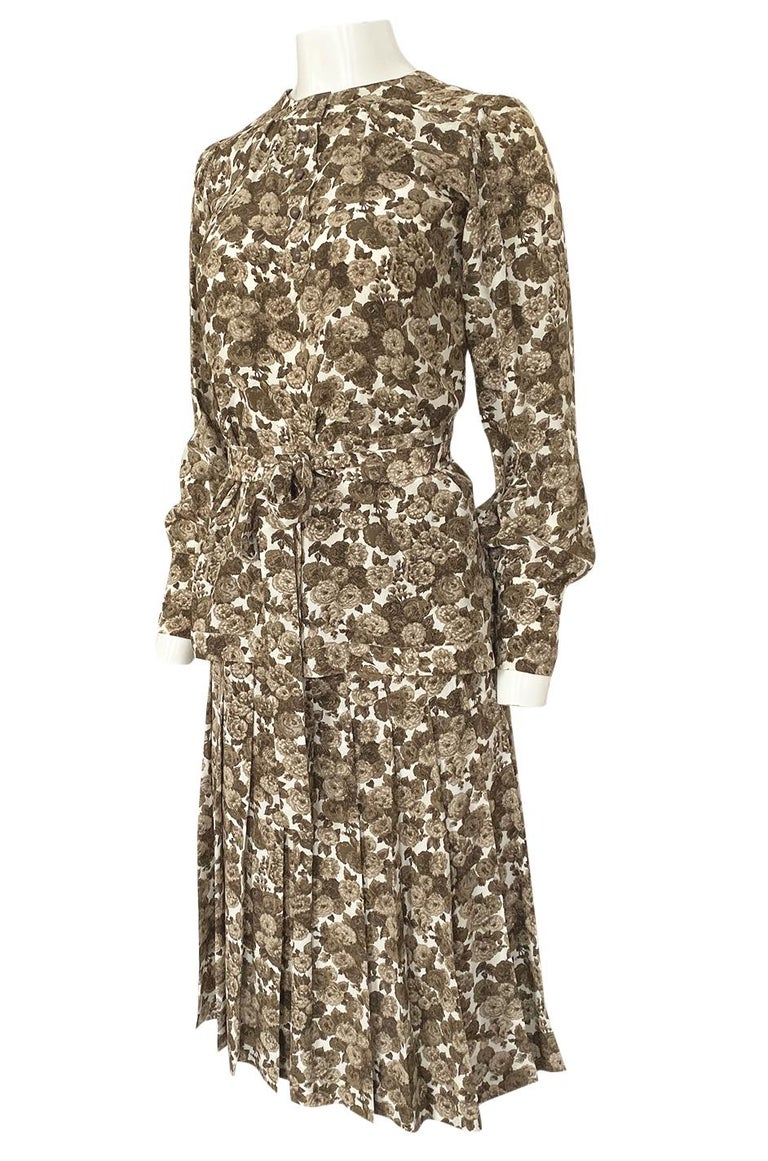 1970s Yves Saint Laurent Soft Brown Floral Print Silk Dress Top & Skirt Set For Sale 1