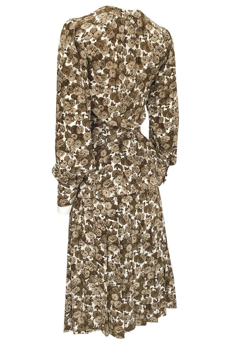 1970s Yves Saint Laurent Soft Brown Floral Print Silk Dress Top & Skirt Set For Sale 2