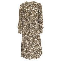 1970s Yves Saint Laurent Soft Brown Floral Print Silk Dress Top & Skirt Set